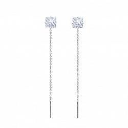 Серебряные серьги-подвески Снежная принцесса с белыми фианитами