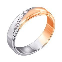 Золотое обручальное кольцо с бриллиантами 000103698