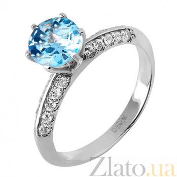 Кольцо из белого золота с голубым топазом и цирконием Голубика TRF--1221634н/топ