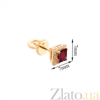 Золотые серьги-пуссеты Старлин с гранатом и цирконием 000045786
