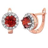Позолоченные серебряные серьги с красными фианитами Вильдана