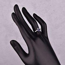 Серебряное кольцо Виньетка с сапфиром и фианитами