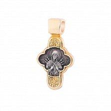 Серебряный крестик с позолотой и чернением Богородица Семистрельная