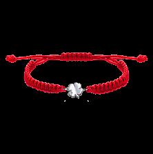 Детский плетеный браслет с серебряной вставкой Листок клевера с фианитом 10-10см