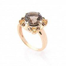 Золотой перстень Цветочная феерия с раухтопазами и цирконием