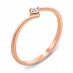 Кольцо в комбинированном цвете золота с бриллиантом и алмазной гранью 000137017