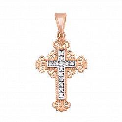 Золотой крестик Зимний полдень в комбинированном цвете с фианитами