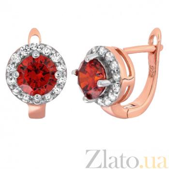 Позолоченные серебряные серьги с красными фианитами Вильдана SLX--СК3ФГ/437