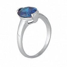 Серебряное кольцо с голубым фианитом Аматея
