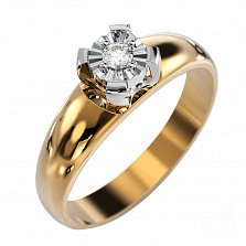 Кольцо в комбинированном золоте Счастливое мгновение с бриллиантом