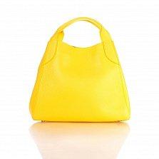 Кожаная сумка на каждый день Genuine Leather 8901 желтого цвета на магните и карабине, с косметичкой