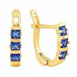 Позолоченные сережки из серебра с синим цирконием 000024774