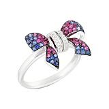 Золотое кольцо с сапфирами, рубинами и бриллиантами Праздник