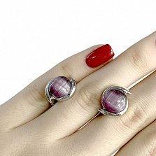 Серебряные серьги Томирис с фиолетовым кошачьим глазом