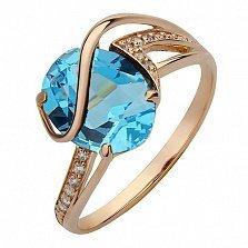 Золотое кольцо Грета с голубым топазом и фианитами