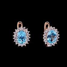 Золотые серьги Севилья с голубым топазом и фианитами