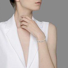 Золотой литой браслет Интрига в  белом цвете с бриллиантами