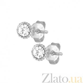 Серебряные сережки-пуссеты Фрейра с прозрачными кристаллами SLX--С1СТ/612