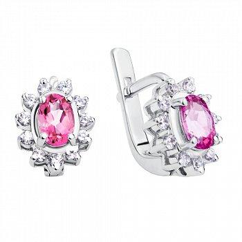Серебряные серьги с розовыми топазами и фианитами 000115733