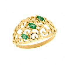Золотое кольцо в жёлтом цвете с изумрудами Джульетта
