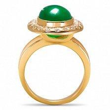 Золотое кольцо Мирабелла с зеленым агатом и фианитами