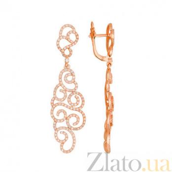 Ажурные серьги-подвески из красного золота с фианитами Алишия VLT--ТТТ2503-2