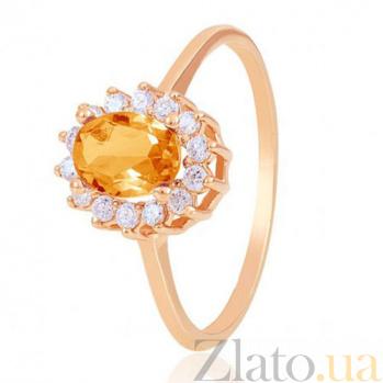 Золотое кольцо Синтия с цитрином и фианитами EDM--КД4028ЦИТРИН