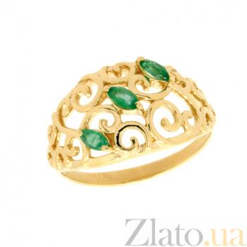 Золотое кольцо в жёлтом цвете с изумрудами Джульетта ZMX--RE-5522y_K