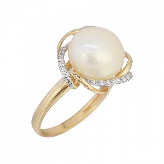 Кольцо из красного золота Роза морей с жемчугом и бриллиантами 000080967