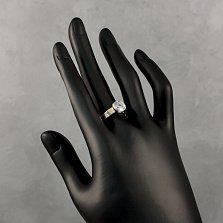 Серебряное кольцо Вилена с золотыми накладками и фианитом