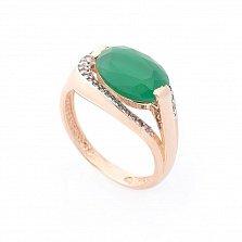 Золотое кольцо Эйлат в красном цвете с зеленым хризопразом и белыми фианитами