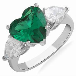 Серебряное кольцо Весеннее сердце с зеленым и белыми фианитами