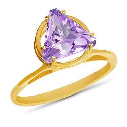 Золотое кольцо Трисса с синтезированным аметистом