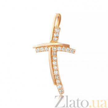 Золотой крестик с бриллиантами Ариэль EDM--КР7159