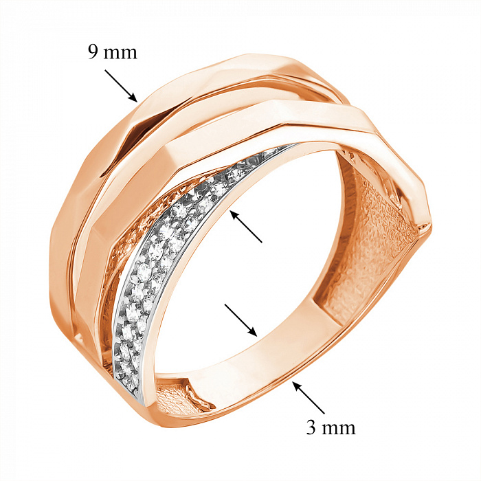 Кольцо из красного золота Грэтхен с фианитами 000079583