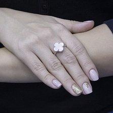Серебряное кольцо Волшебство с белым перламутром в стиле Ван Клиф