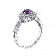 Серебряное кольцо Снежная королева с аметистом и фианитами