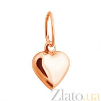 Золотой односторонний кулон Сердечко с выгнутой поверхностью 000001444