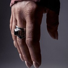 Кольцо из серебра Beat-up с черным цирконием и чернением