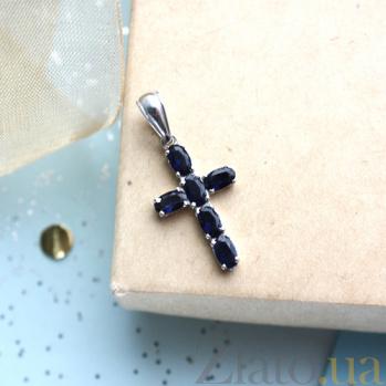 Серебряный крест Счастье с сапфирами 3574р сапф