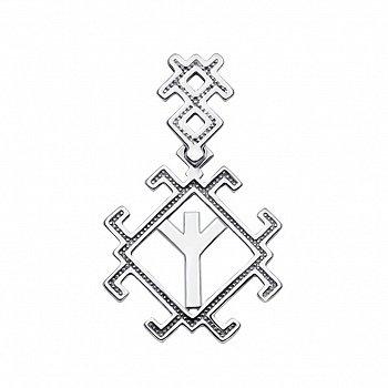 Серебряный кулон Руна Мир (Альгиз) 000133727