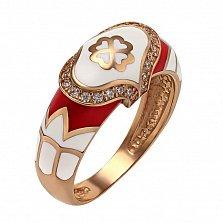 Кольцо в красном золоте Айше с эмалью и фианитами