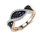 Кольцо из красного золота Синди с бриллиантами и сапфирами