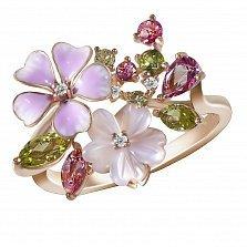 Кольцо Весенний букет из красного золота с бриллиантами, хризолитом, топазами и перламутром
