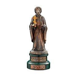 Бронзовая скульптура Великомученник Иоанн Сочавский с позолотой на мраморной подставке