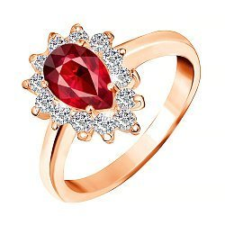 Позолоченное серебряное кольцо с красным фианитом 000028422
