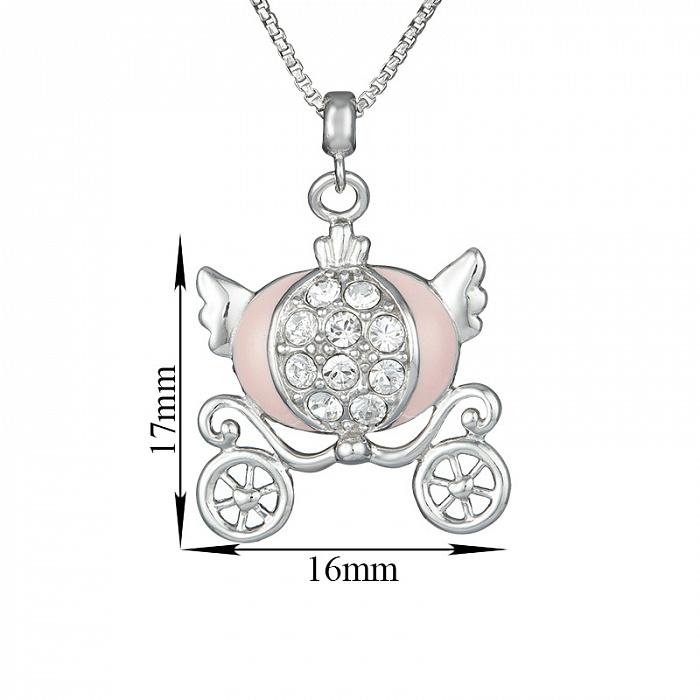 Детское серебряное колье Карета для принцессы с эмалью и фианитами 000080689