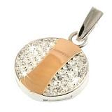 Кулон из серебра с золотом и фианитами Таблетка