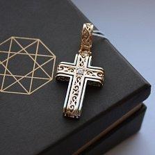 Золотой крест Воспевание в комбинированном цвете с цирконием