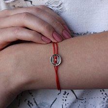 Шелковый браслет Вчера, сегодня, навсегда с серебряной вставкой
